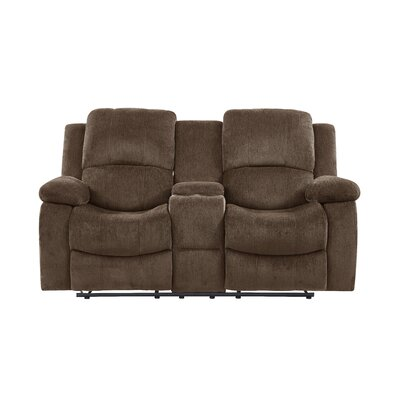 Anshul Extra Plush Console Reclining Loveseat Upholstery: Coffee