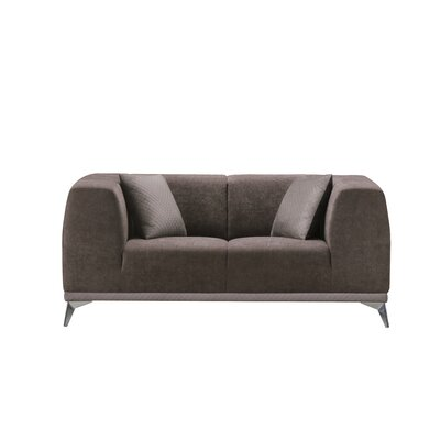 Ancroft Textured Loveseat Upholstery: Dark Brown