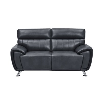 Ansel Stitch Detailed Loveseat Upholstery: Black
