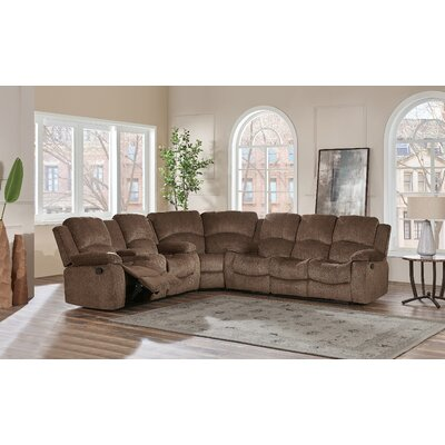 Knizair Reclining Sectional Upholstery: Coffee