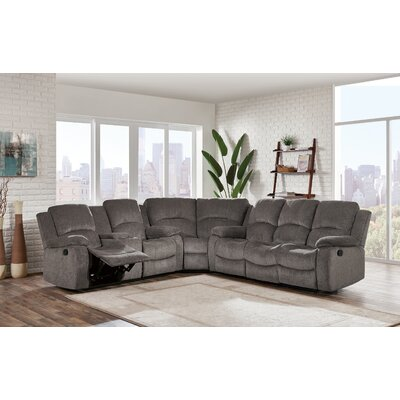 Knizair Reclining Sectional Upholstery: Mocha