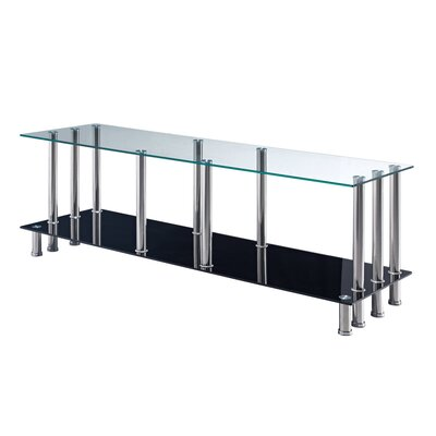 Global Furniture Usa M368tv Clear Glass Top Tv Stand W/ Stainless Steel Legs 256165221