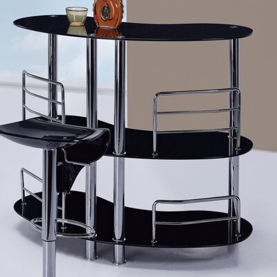 Bar with Wine Storage Finish: Black