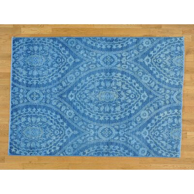 One-of-a-Kind Ovellette Overdyed Oriental Hand-Knotted Wool Blue Area Rug