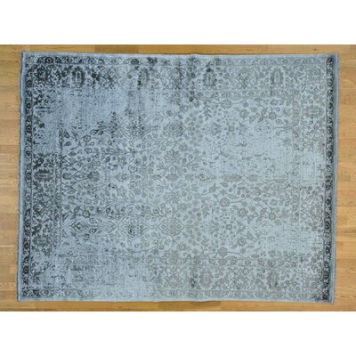 One-of-a-Kind Lise Broken Hand-Knotted Silk Gray Area Rug