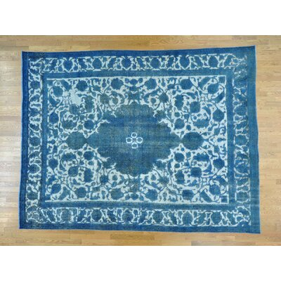 One-of-a-Kind Ine Overdyed Tabriz Barjasta Vintage Hand-Knotted Wool Blue Area Rug