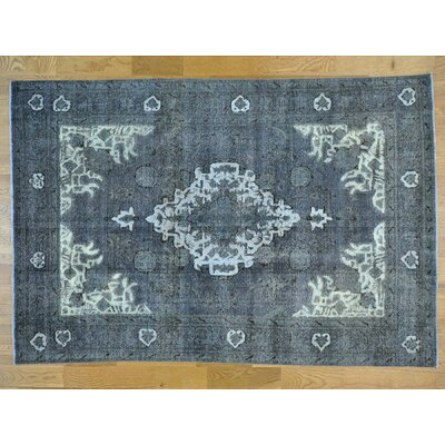 One-of-a-Kind Ine Overdyed Tabriz Barjasta Vintage Hand-Knotted Wool Gray Area Rug