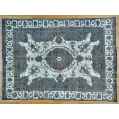 One-of-a-Kind Overbay Overdyed Tabriz Barjasta Vintage Hand-Knotted Wool Gray Area Rug