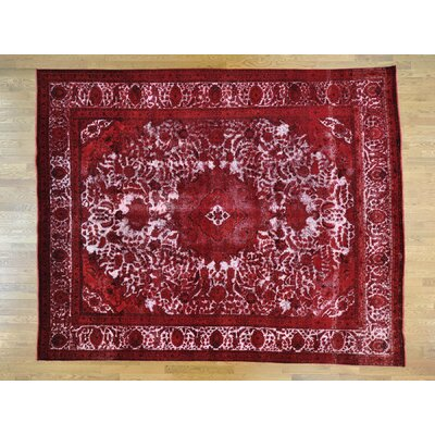 One-of-a-Kind Overbay Overdyed Tabriz Barjasta Vintage Hand-Knotted Wool Red Area Rug