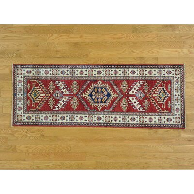 Sanjuana One-of-a-Kind Super Kazak Tribal and Geometric Hand-Knotted Wool Red Area Rug