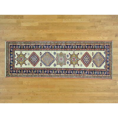 One-of-a-Kind Hoffman Super Kazak Hand-Knotted Wool Ivory Area Rug