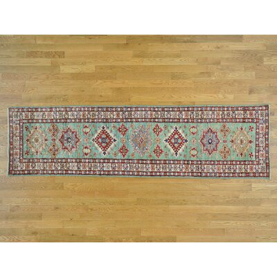 One-of-a-Kind Dorcey Super Kazak Hand-Knotted Wool Teal Area Rug