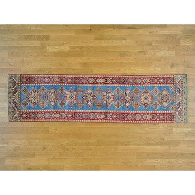 One-of-a-Kind Dorcey Super Kazak Tribal and Hand-Knotted Wool Blue Area Rug