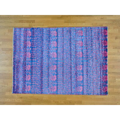 One-of-a-Kind Dyess Transitional Hand-Knotted Silk Blue Area Rug