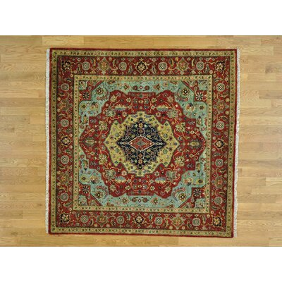 One-of-a-Kind Pietrzak Antiqued Re-creation Pure Hand-Knotted Wool Red Area Rug