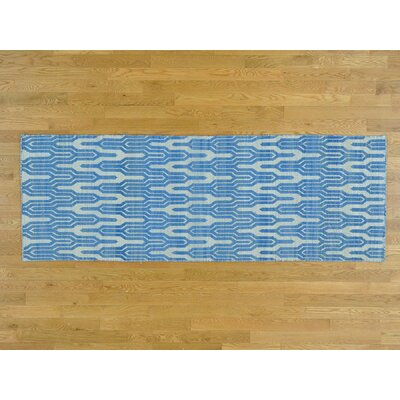 One-of-a-Kind Zeiger Reversible Flat-Weavel Hand-Woven Cotton Beige/Blue Area Rug