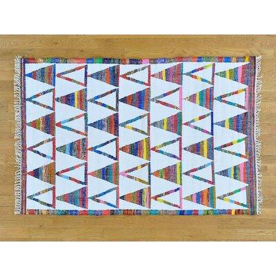 One-of-a-Kind Dismuke Weave Oriental Hand-Woven Silk Sky Blue Area Rug
