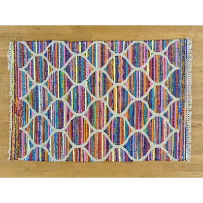 One-of-a-Kind Dyess Flat Weave Silk Hand-Woven Pink/Blue Area Rug