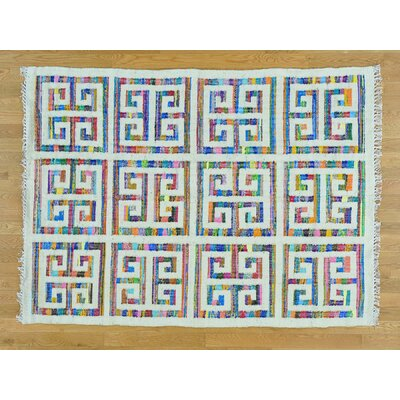 One-of-a-Kind Dyess Hand-Woven Silk Ivory/Pink Area Rug