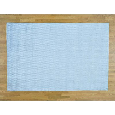 One-of-a-Kind Jeffrey Solid Hand-Knotted Wool Blue Area Rug
