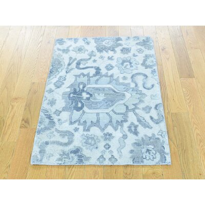 One-of-a-Kind Sanjuana Oxidized Mahal Floral and Plants Hand-Knotted Wool Blue Area Rug