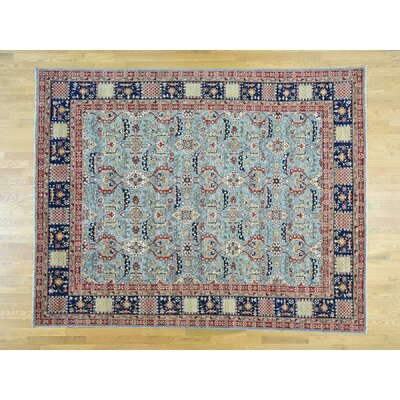 One-of-a-Kind Pietrzak All Over Antiqued Oriental Hand-Knotted Wool Blue Area Rug