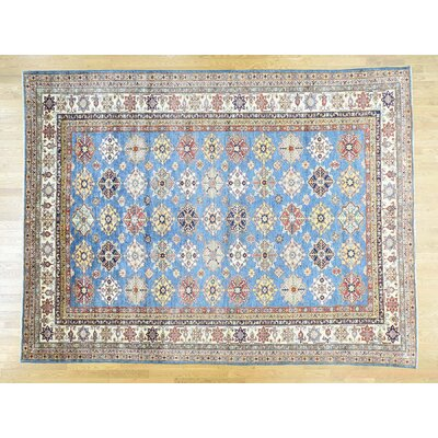 One-of-a-Kind Dorcey Ikat Super Kazak Hand-Knotted Wool Blue Area Rug