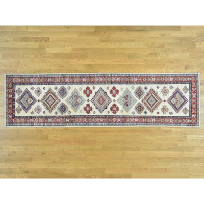 One-of-a-Kind Dorcey Super Kazak Southwestern Hand-Knotted Wool Ivory/Red Area Rug