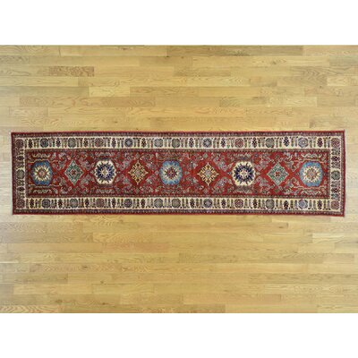 One-of-a-Kind Dorcey Kazak Super Oriental Carpet Hand-Knotted Wool Red Area Rug