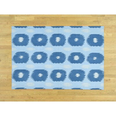 One-of-a-Kind Flatiron Flat Weave Reversible Hand-Woven Wool Blue Area Rug