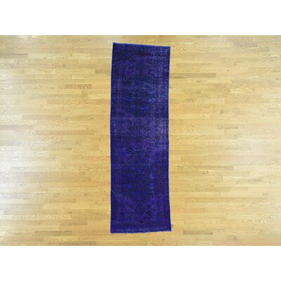 One-of-a-Kind Dyess Overdyed Hamadan Hand-Knotted Wool Purple Area Rug