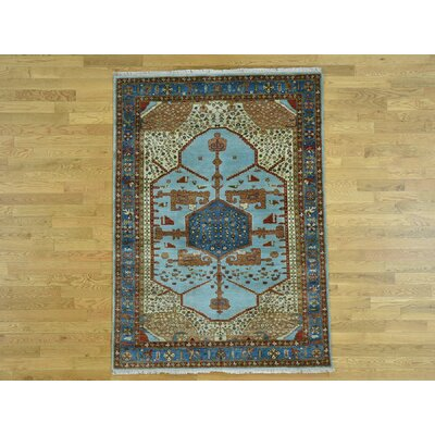 One-of-a-Kind Hollman Natural Dyes Hand-Knotted Wool Blue Area Rug