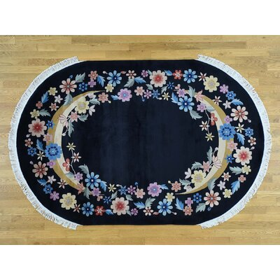 One-of-a-Kind Finlay Chinese Hand-Knotted Wool Black Area Rug