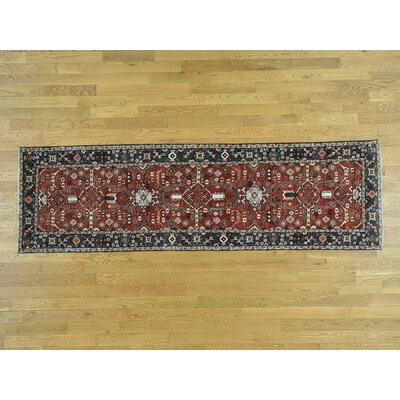 One-of-a-Kind Draine Hand-Knotted Wool Red/Navy Area Rug
