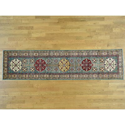 One-of-a-Kind Dorcey Super Kazak Hand-Knotted Wool Light Green/Ivory Area Rug
