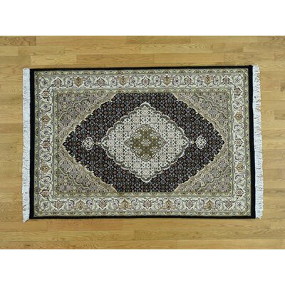 One-of-a-Kind Prickett Pak Mahi 300 Kpsi Hand-Knotted Black/Ivory Area Rug