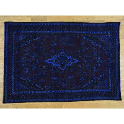 One-of-a-Kind Overbay Overdyed Bibikabad Vintage Hand-Knotted Wool Purple Area Rug