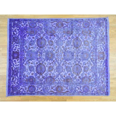 One-of-a-Kind Dyess High and Low Overdyed Barjasta Hand-Knotted Purple Area Rug