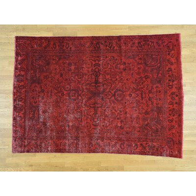 One-of-a-Kind Overbay Overdyed Bakhtiari Vintage Hand-Knotted Wool Red Area Rug