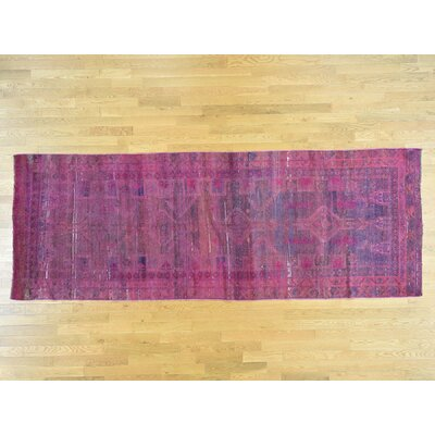 One-of-a-Kind Dyess Overdyed Hamadan Wide Hand-Knotted Wool Pink Area Rug