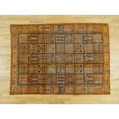 One-of-a-Kind Hollon Overdyed Bakhtiari Vintage Hand-Knotted Wool Burnt Orange Area Rug