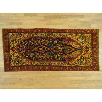 One-of-a-Kind Hollon Overdyed Bakhtiari Vintage Wide Hand-Knotted Wool Yellow Area Rug