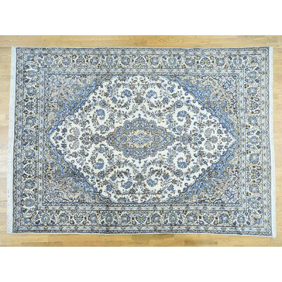 One-of-a-Kind Overbay Kerman Hand-Knotted Wool Ivory/Blue Area Rug