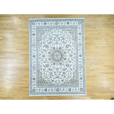 One-of-a-Kind Dowe 250 Kpsi Nain Hand-Knotted Ivory Area Rug