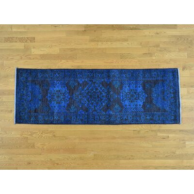 One-of-a-Kind Ovellette Overdyed Worn Hand-Knotted Wool Navy Area Rug