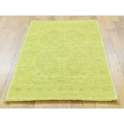 One-of-a-Kind Ovellette Overdyed Cast Hand-Knotted Wool Yellow Area Rug