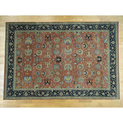 One-of-a-Kind Dorcey Antiqued Tabriz Hand-Knotted Wool Rust Red/Blue Area Rug