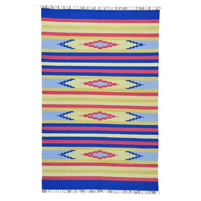 Rectangle 6 x 92 One-of-a-Kind Tollison Flat Weave Southwestern Killim Hand-Knotted Cotton Area Rug
