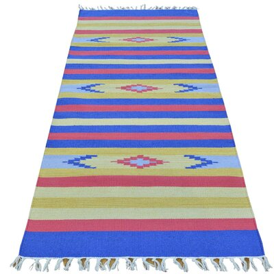 Runner 26 x 61 One-of-a-Kind Tomas Flat Weave Southwestern Killim Hand-Knotted Cotton Area Rug