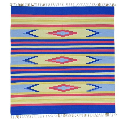 Square 6 x 6 One-of-a-Kind Tomberlin Flat Weave Southwestern Killim Hand-Knotted Cotton Area Rug